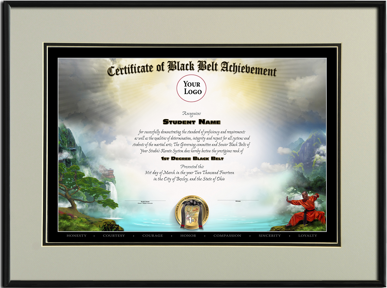 Black belt templates martial arts certificates mountain template yelopaper Images