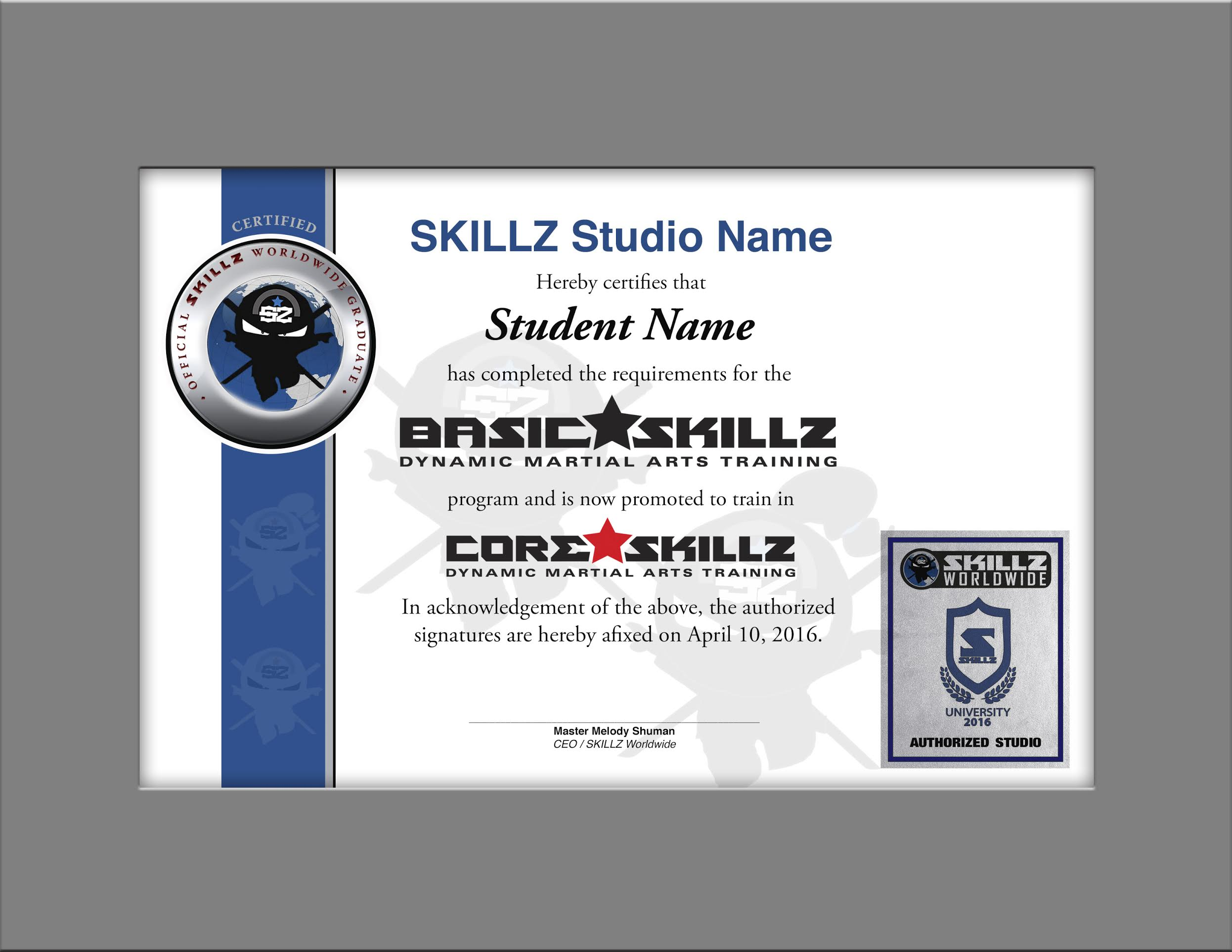 SKILLZ Graduation Certificate - Core to Extreme - Martial Arts ...