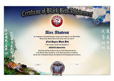 Beach Cities Martial Arts – Black Belt Certificate Sample