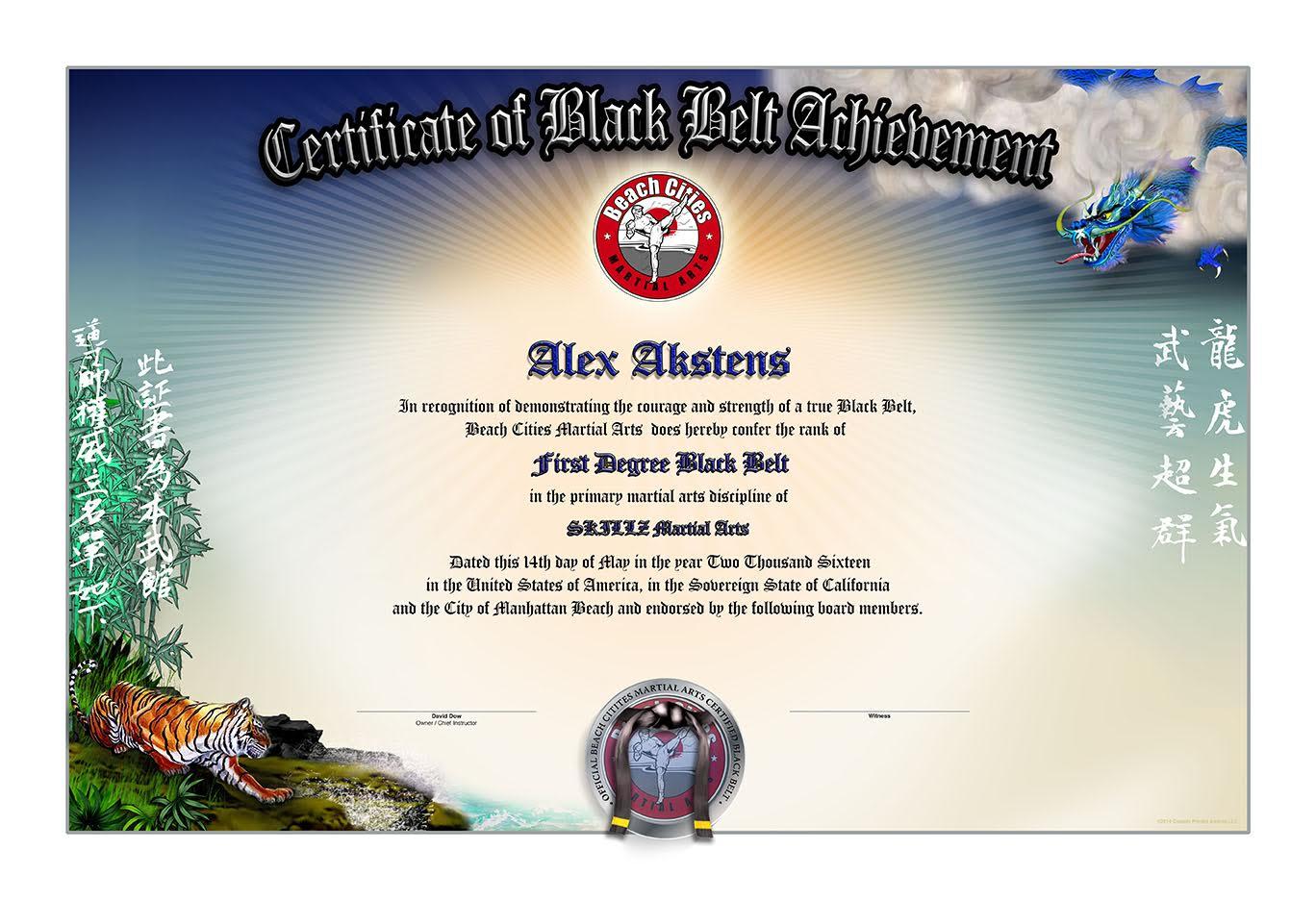 SKILLZ Black Belt Certificates - Martial Arts Certificates