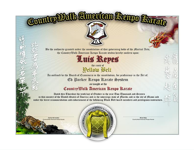 Countrywalk kenpo karate lower rank sample martial for Black belt certificate template