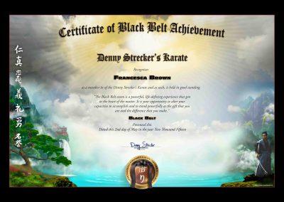 Denny Strecker Karate – Black Belt Certificate Sample
