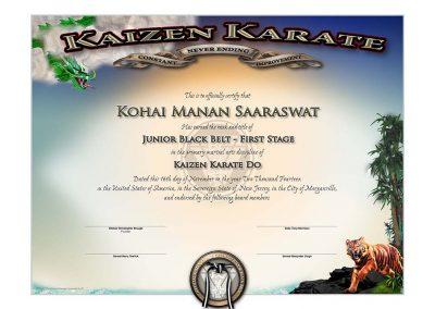 Kaizen Karate – Junior Black Belt Certificate