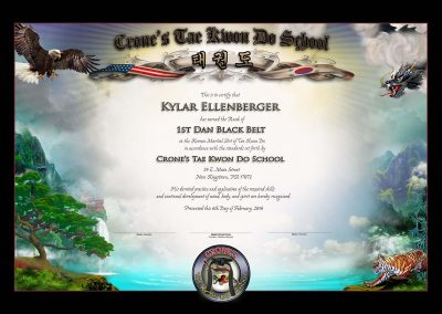 Crone's TKD Studio – Black Belt Certificate Sample