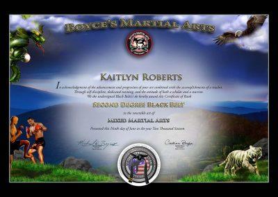 Boyce's Martial Arts – Black Belt Certificate Sample