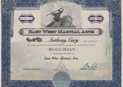 East West Martial Arts – Blue Belt Certificate