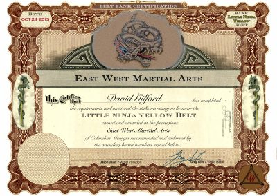 East West Martial Arts – Yellow Belt Certificate