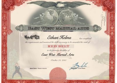 East West Martial Arts – Red Belt Certificate