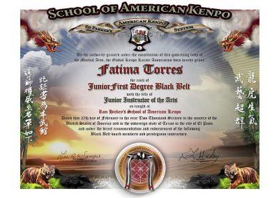 School of American Kenpo – Junior Black Belt Certificate