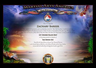 Martial Art America – Black Belt Certificate