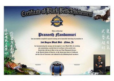 Livermore Martial Arts – Black Belt Certificate w/Student Image