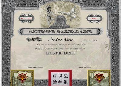Richmond Martial Arts – Jr. Black Belt Certificate