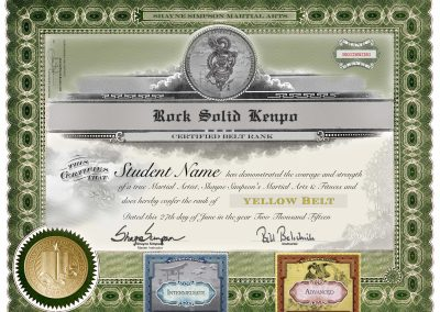 Rock Solid Kenpo – Yellow Belt Stock Certificate with Levels