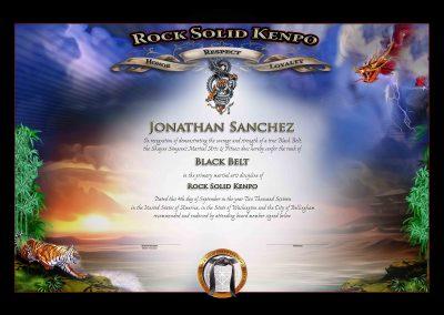Rock Sold Kenpo – Black Belt Certificate