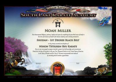 South Lake Karate Academy Black Belt Certificate