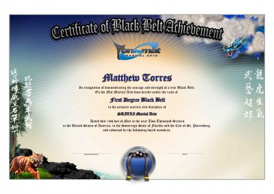 SKILLZ – On The Mat Black Belt Certificate