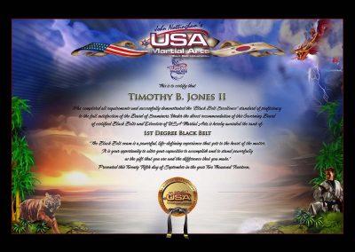 USA Martial Arts – Black Belt Certificate