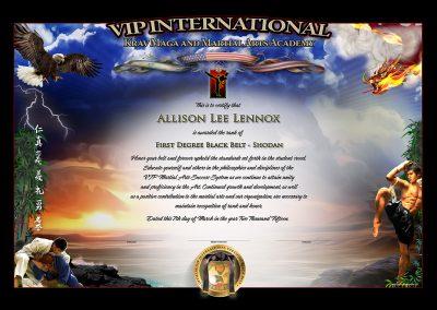 VIP International Krav Maga and Martial Arts Academy – Black Belt Certificate