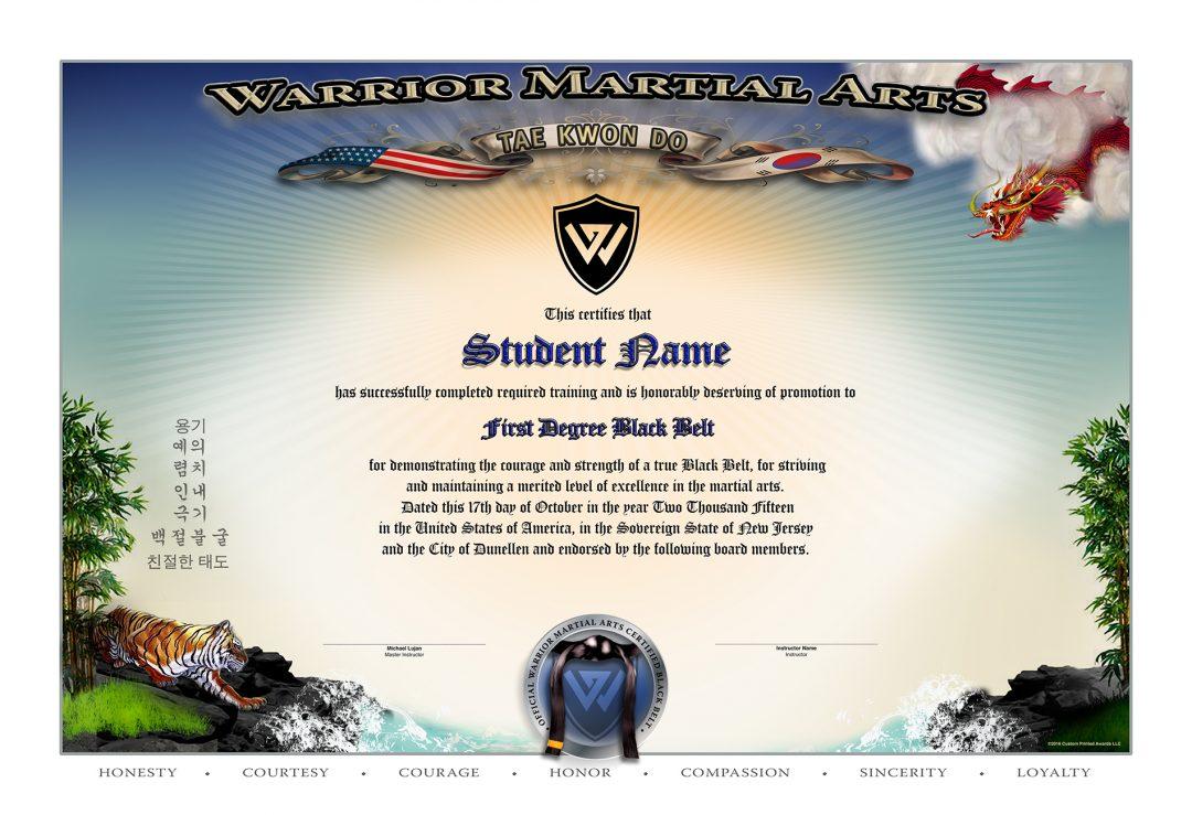 Custom GoldRed Phoenix Certificates Martial Arts