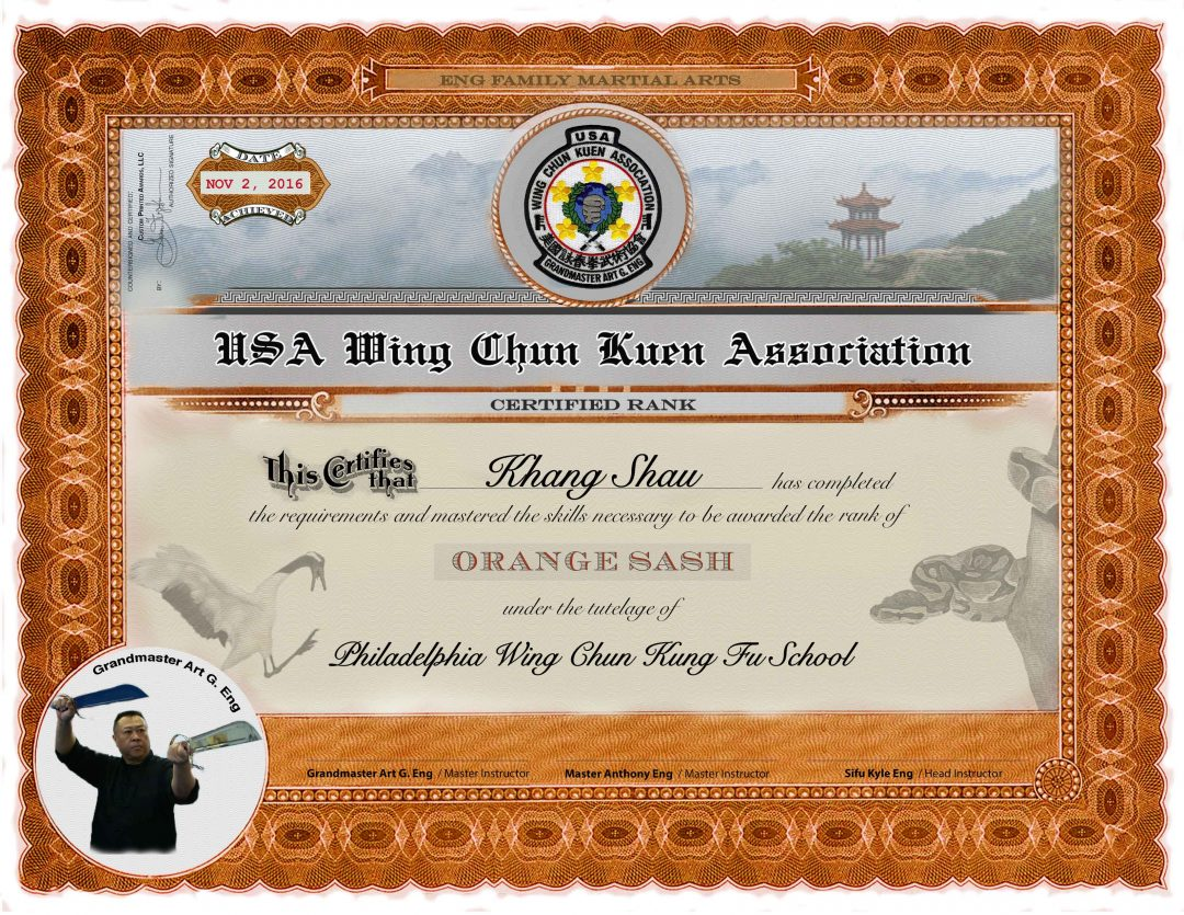 Usa Wing Chun Kung Fu Lower Rank Certificates Martial Arts
