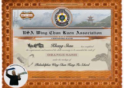 USA Wing Chun Kung Fu – Lower Rank Certificates