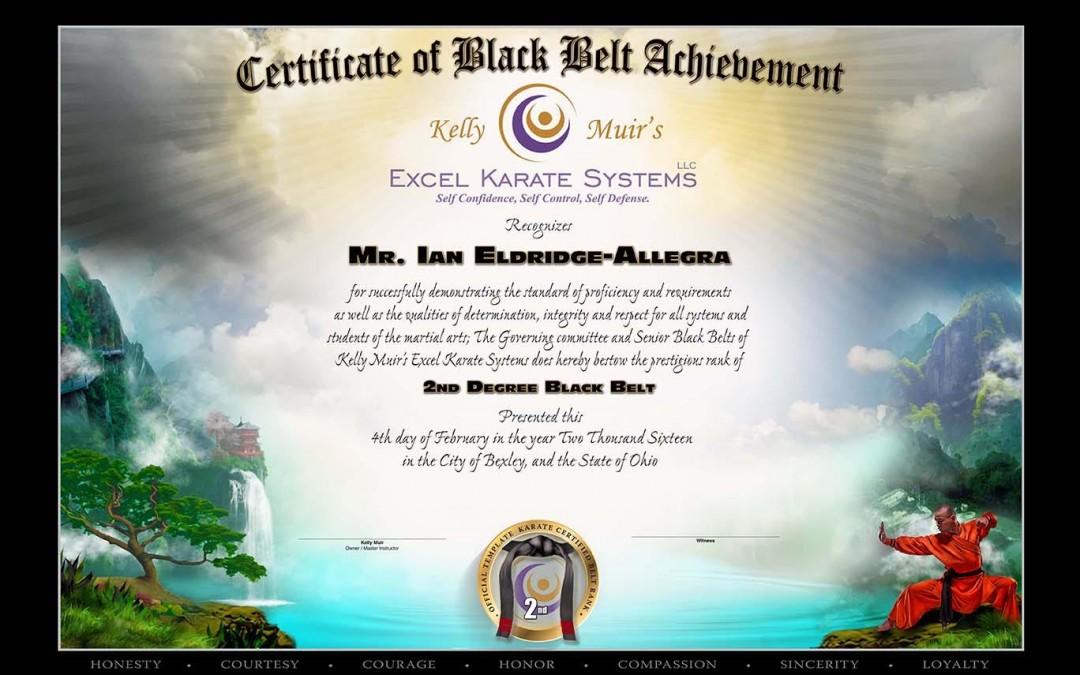 Kelly Muir's Excel Karate – Black Belt Testing Feb. 4, 2016 – Certificates