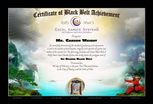 Certificate of Black Belt Achievement from Kelly Muir's Excel Karate
