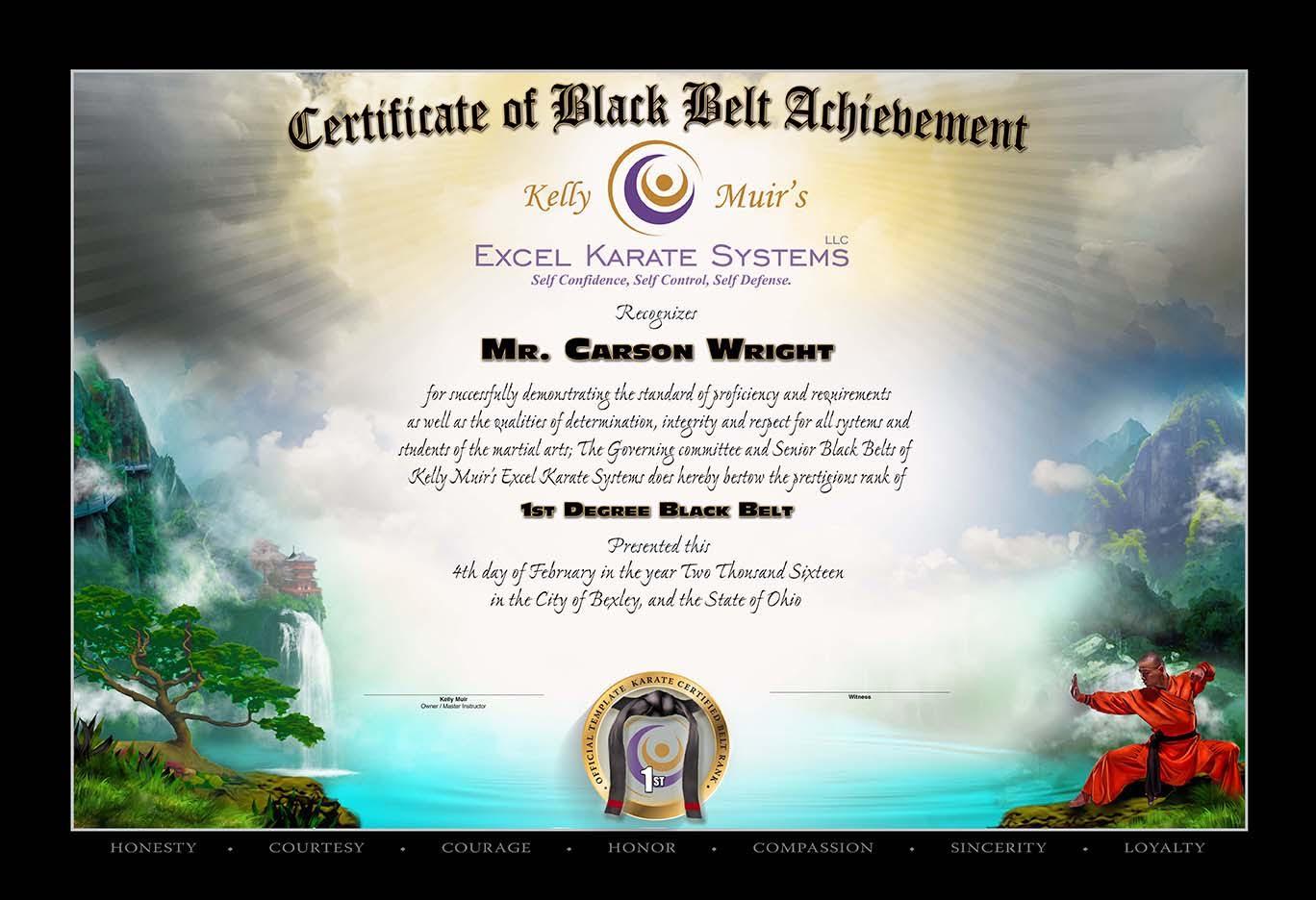Kelly Muirs Excel Karate Black Belt Testing Feb 4 2016