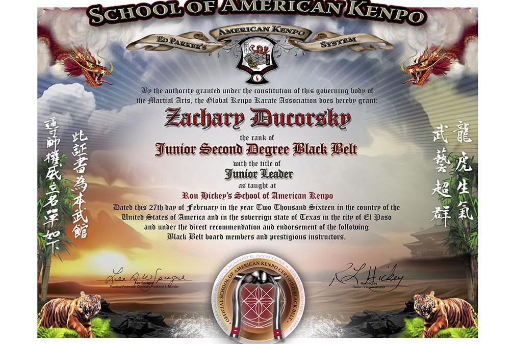 School Of American Kenpo Junior Black Belt Certificate Testing