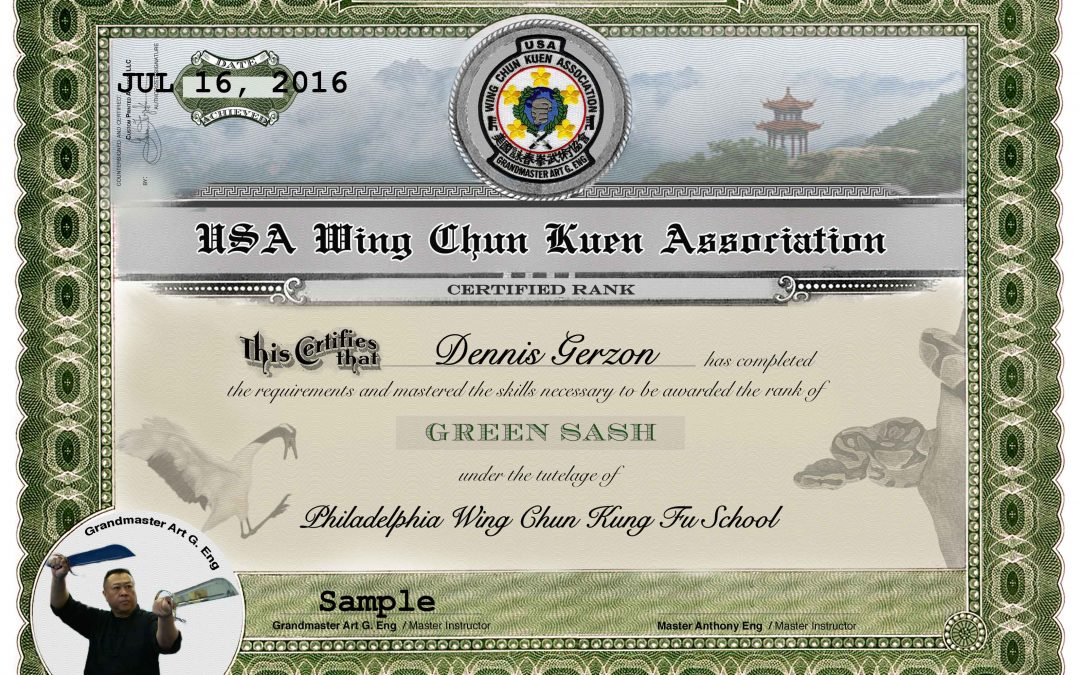 USA Wing Chun Kuen Association – Green Sash Award Certificate
