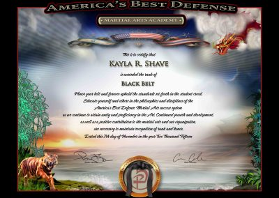 Americas Best Defense – Junior Black Belt Sample