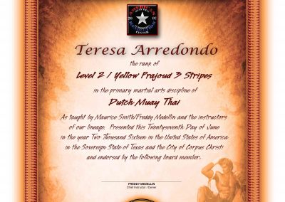 American Revolution Muay Thai – Lower Rank Certificate
