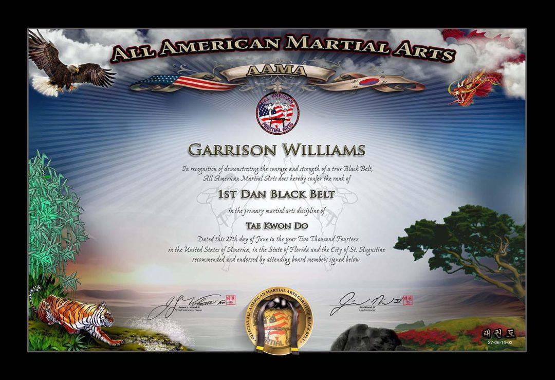 All American Martial Arts – Black Belt Certificate