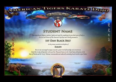American Tigers Karate Dojo – Black Belt Certificate