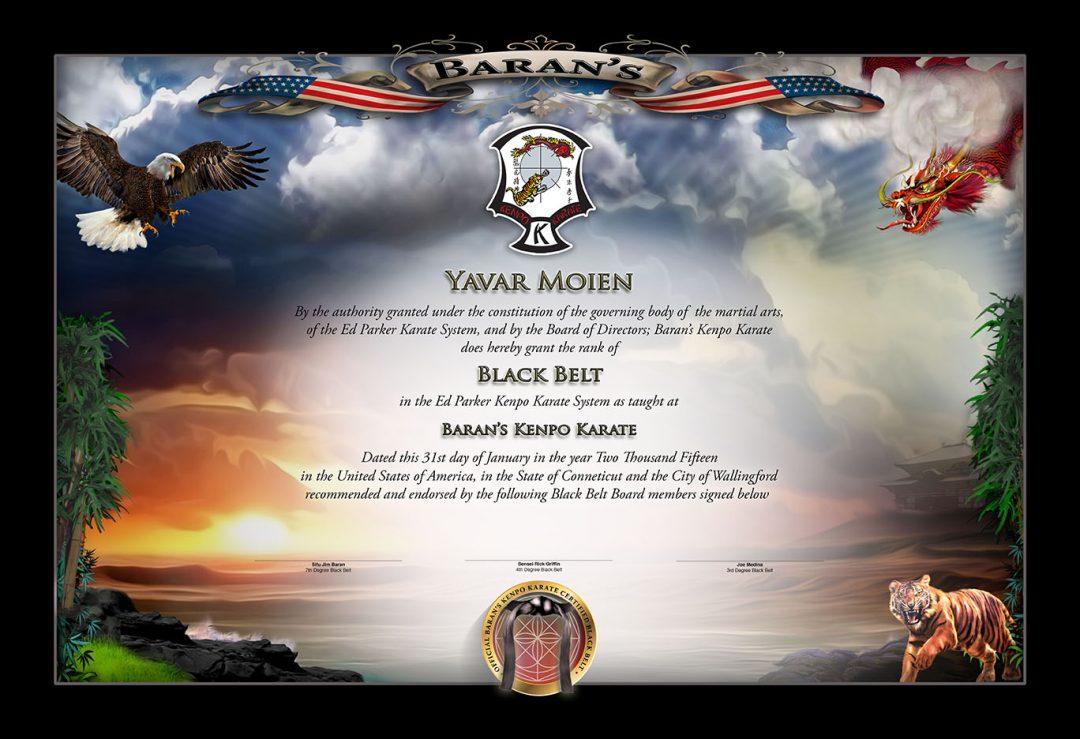 Barans Kenpo – Black Belt Certificate