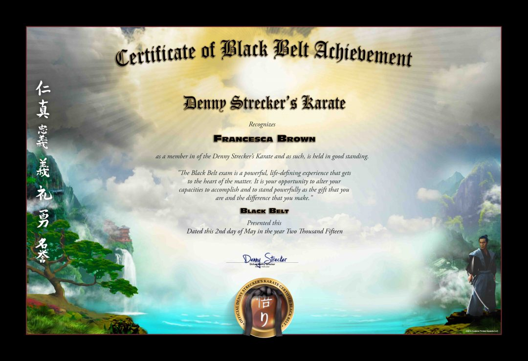 Denny Strecker Karate – Black Belt Certificate Sample