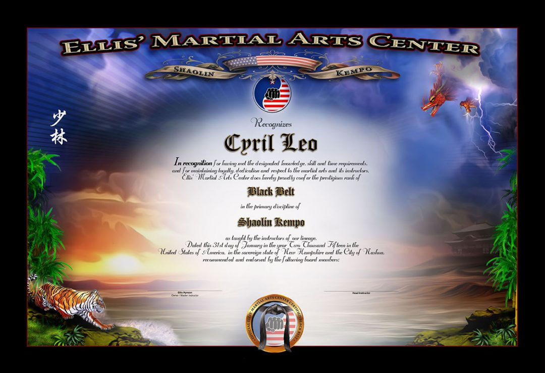 Ellis Martial Arts – Black Belt Certificate