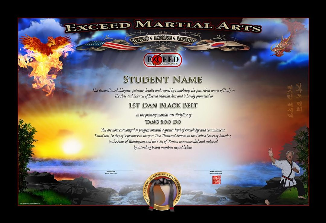 Exceed MA – Black Belt Certificate