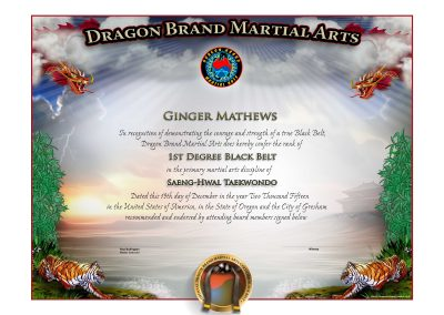 Dragon Brand Martial Arts – Jr. Black Belt Certificate