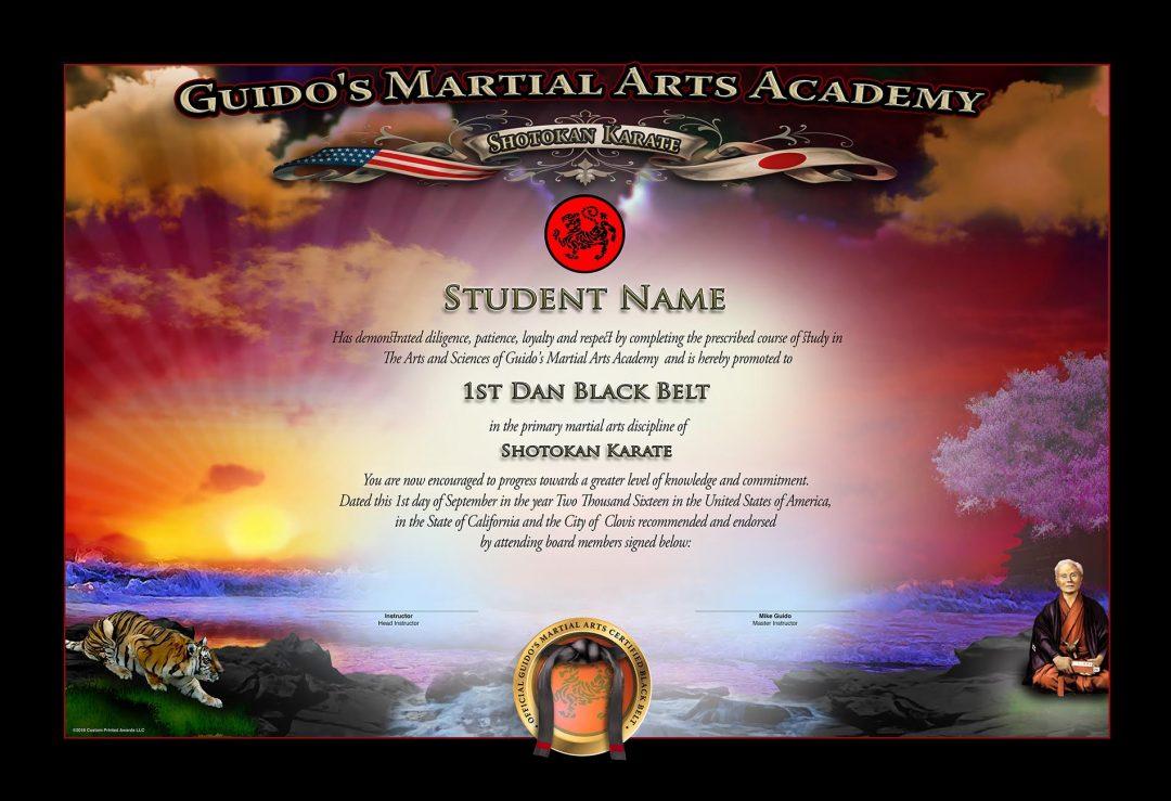 Guido's Martial Arts – Black Belt Certificate