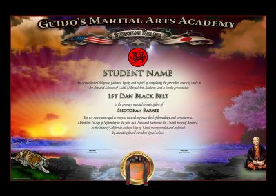 Guido's Martial Arts – Black Belt Certificate