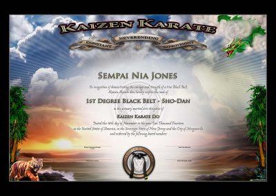 Kaizen Karate – Black Belt Certificate