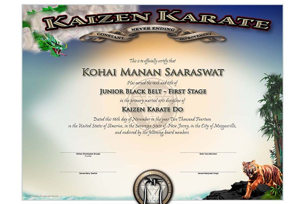 Kaizen Karate – Junior Black Belt Certificate