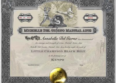 Little Champions Black Belt Certificate