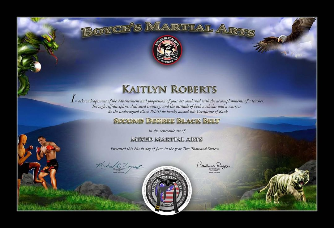 Boyce's Martial Arts – Black Belt Certificate Sample