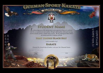 Guzman Sport Karate – Black Belt Certificate