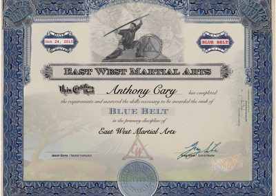 East West Martial Arts – Blue Belt Certificate