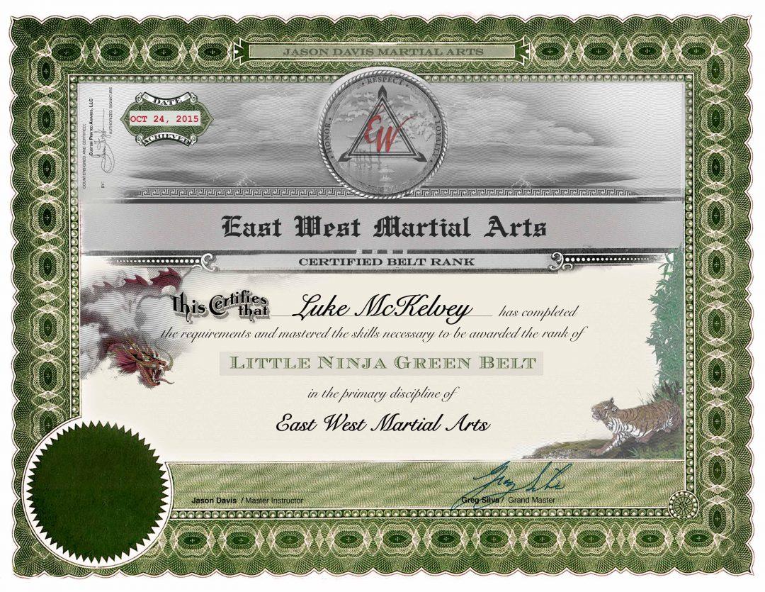 East West Martial Arts – Green Belt Certificate