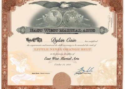 East West Martial Arts – Orange Belt Certificate