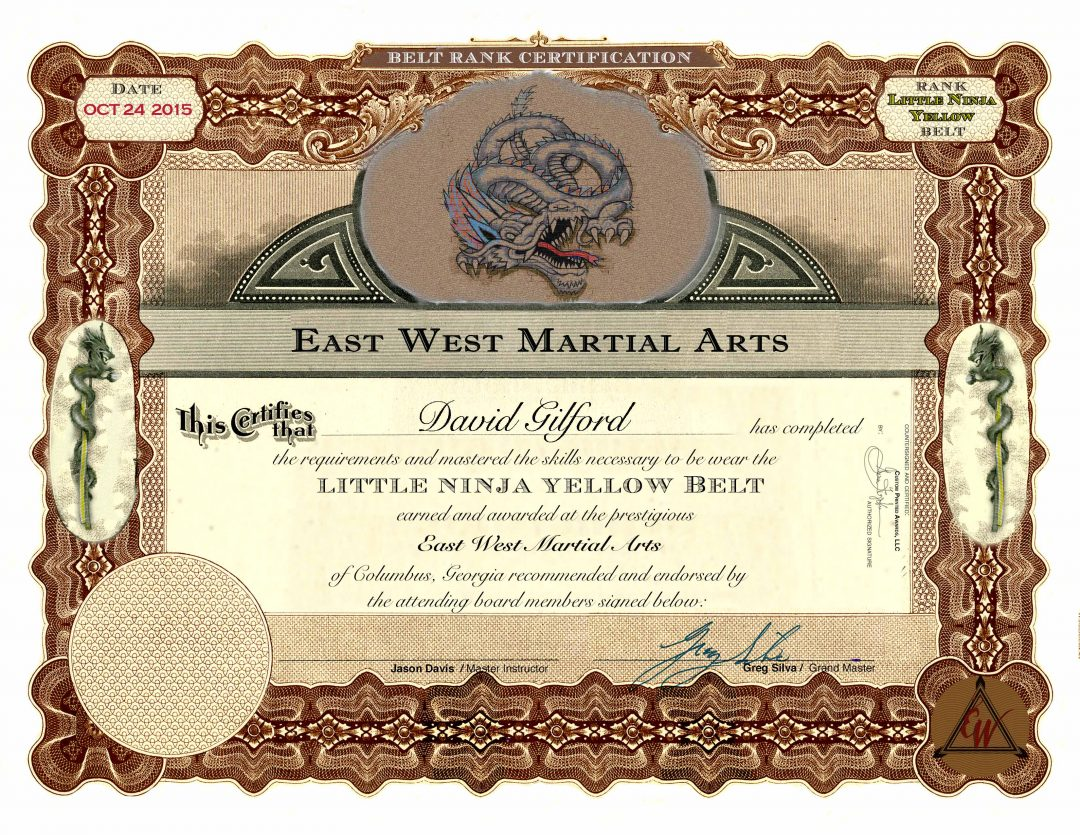East West Martial Arts – Yellow Belt Certificate